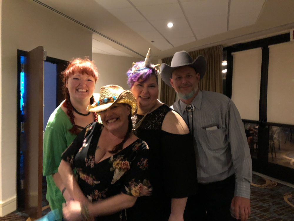 <p>Holly Schippers, Michelle Aab, Russanna Dudley, and Tim Dudley at the pre-show party.</p>