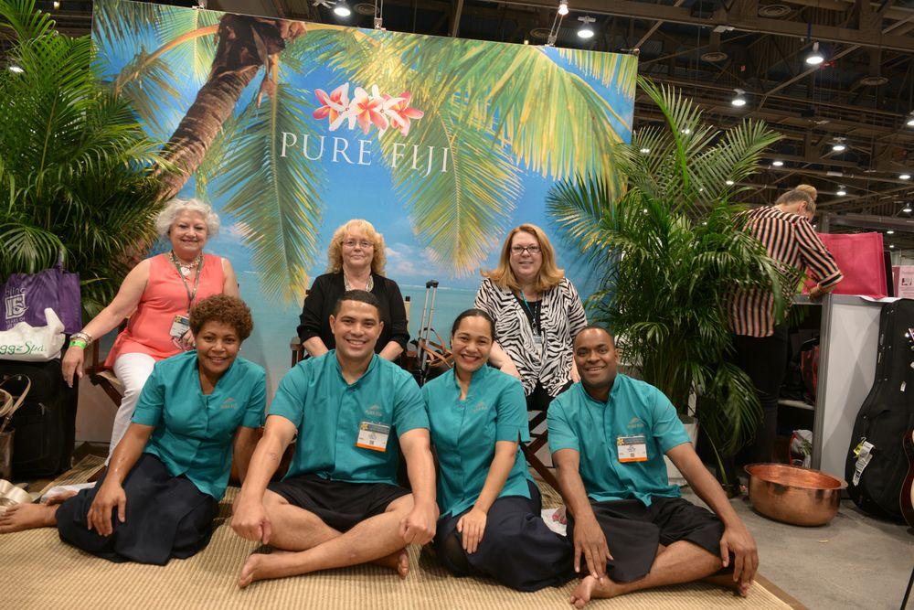 <p>Pure Fiji's Esther Torres, Diane Hart, and Mary Kukura</p>