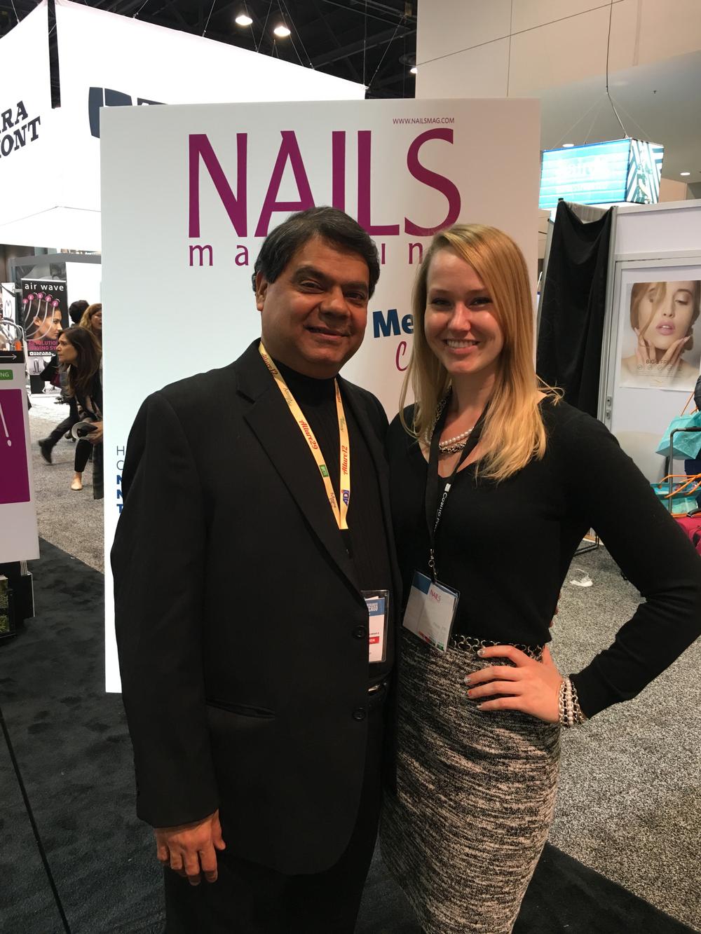 <p>American Dawn's&nbsp;Ron Kothari and NAILS' sales rep Shannon Rahn</p>