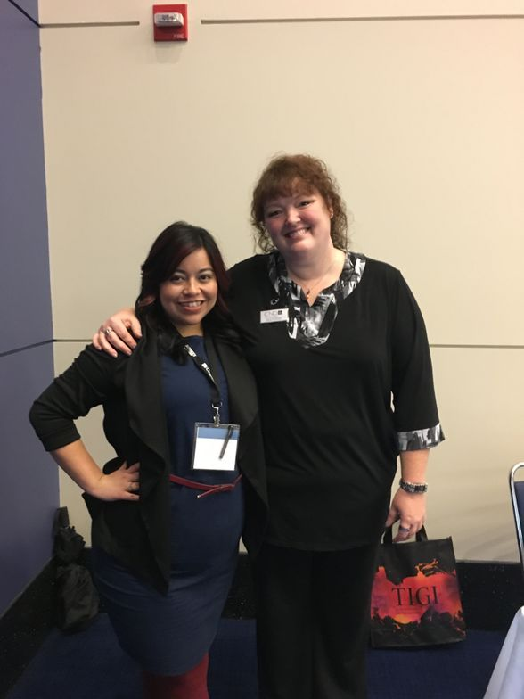 <p>NAILS' associate editor Sigourney Nu&ntilde;ez with&nbsp;CND's Holly Schippers&nbsp;</p>