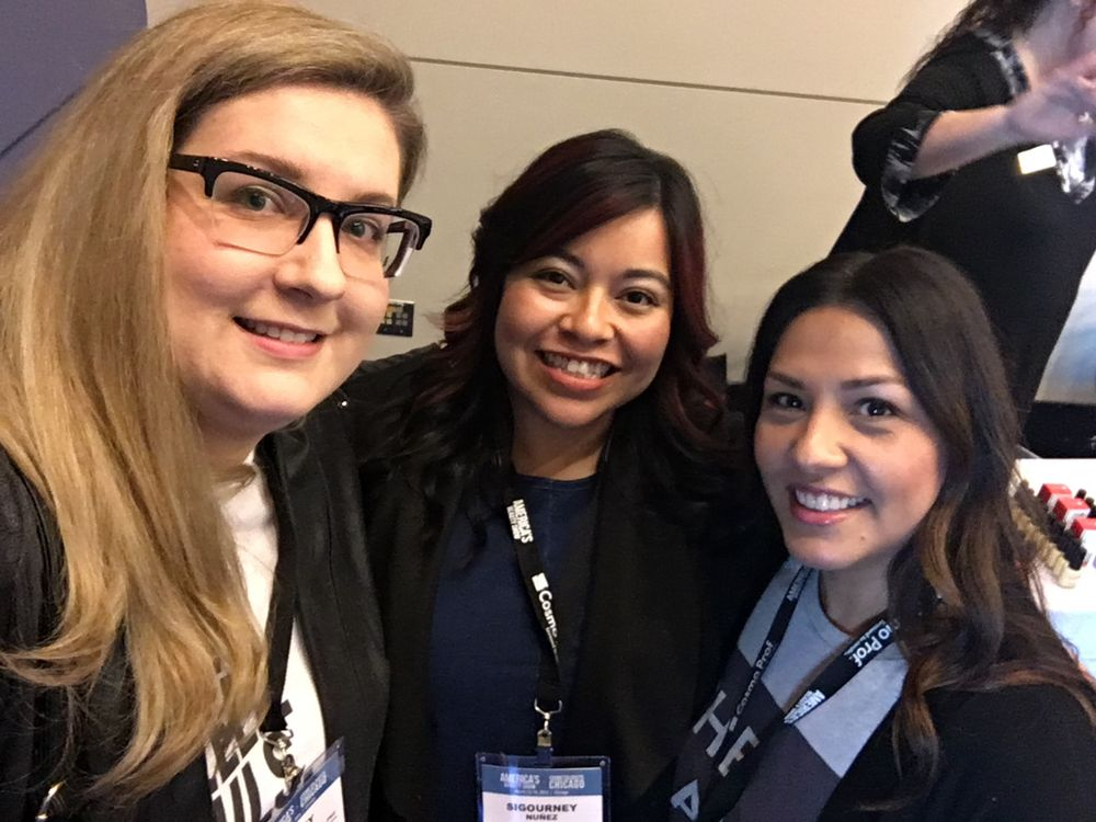 <p>The Nailscape's Ashley Gregory and Diane Diaz with NAILS' Sigourney&nbsp;Nu&ntilde;ez</p>