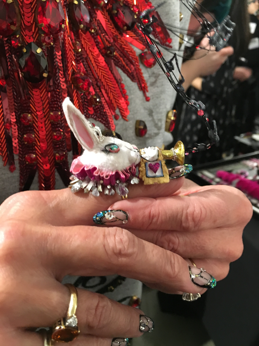 <p>Harriet, the rabbit made by Ashley Craig, as seen on Jan Arnold</p>