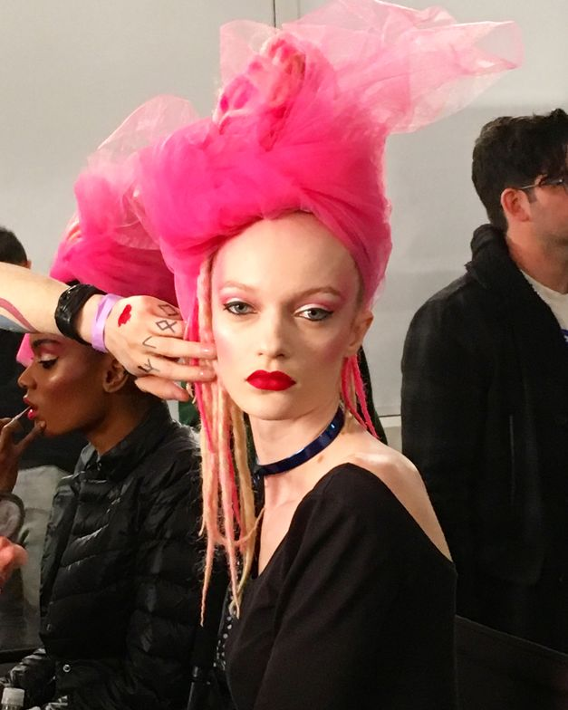 <p>The finished hair look at The Blonds</p>