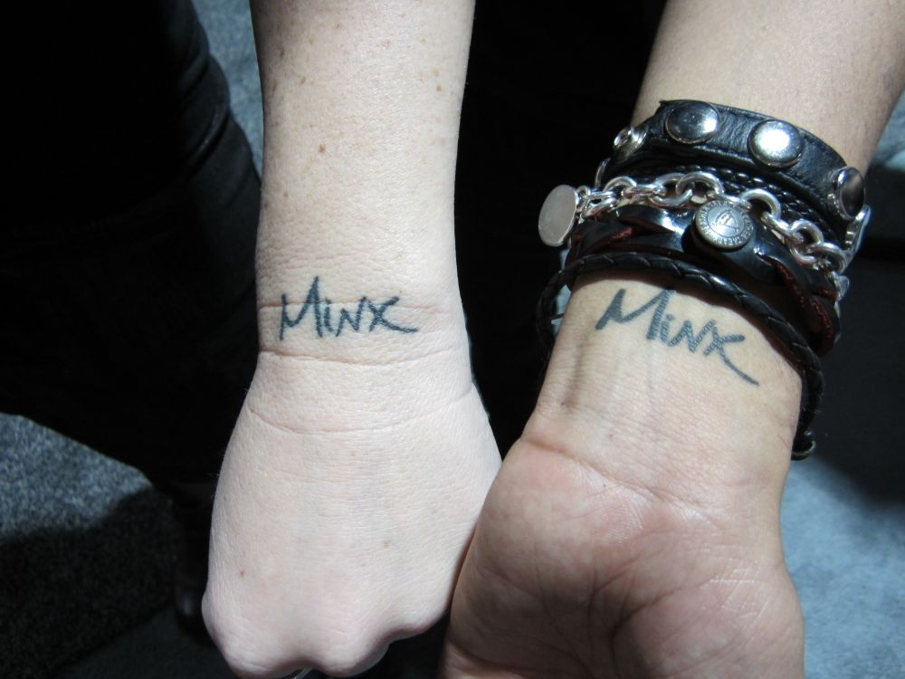<p>Minx educators Crystal Rice, CMP, and Brian Garces, CMP, show off&nbsp;their brand loyalty on their wrists.</p>