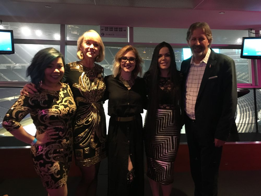 <p>Beauty Changes Lives' Lynelle Lynch (second from left) with our NTNA Top 3 and Pivot Point's Robert Passage</p>