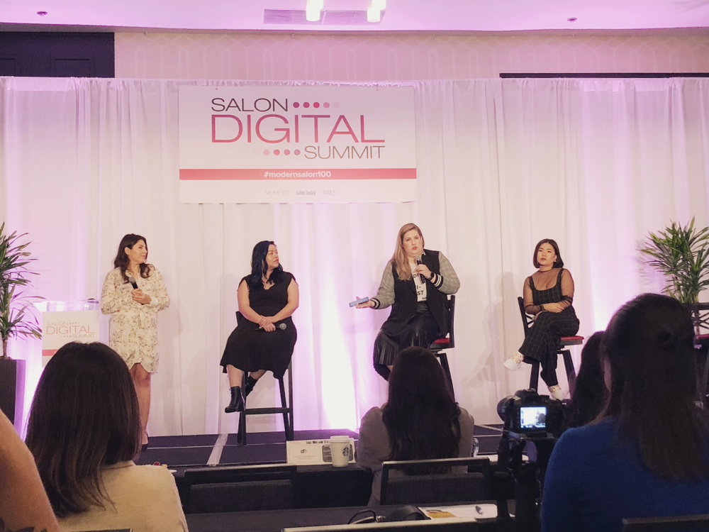 <p>The NAILS panel on mastering social media in the nail market consisted of executive editor Beth Livesay, OPI North America Education Manager Sigourney Nunez, Nailscape founder Ashley Gregory, and CND Ambassador Winnie Huang.</p>