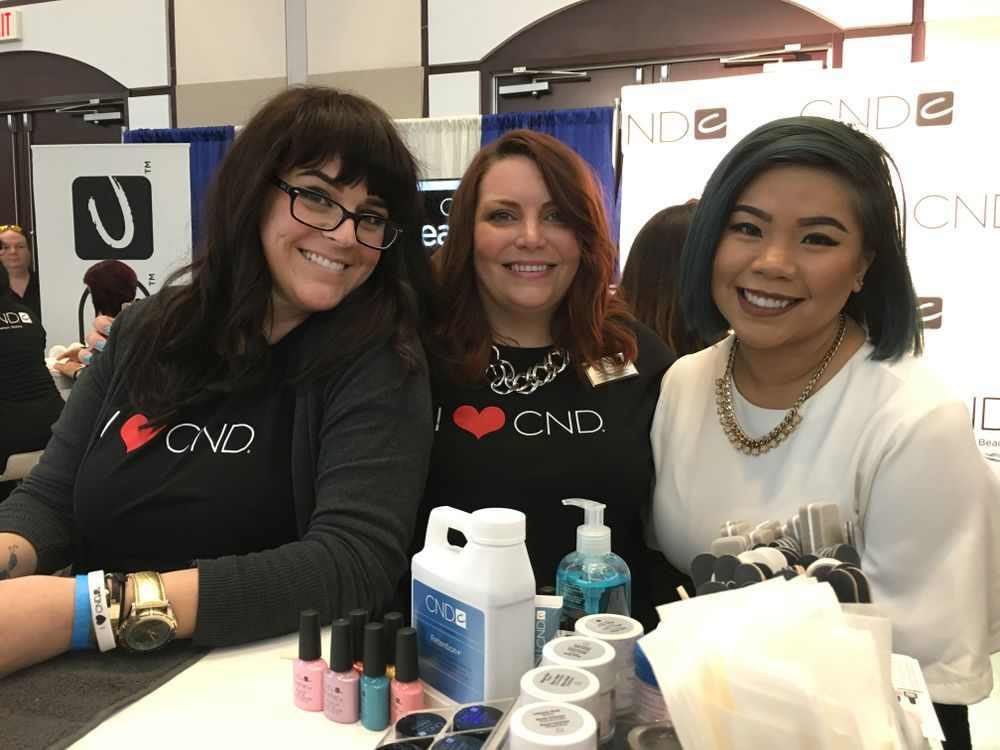 <p>From left: CND&rsquo;s Heather Davis, Shelena Robinson, and NTNA Season 3 champion Winnie Huang demoed nail trends during the brand&rsquo;s I Heart CND event.</p>