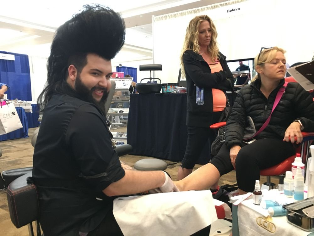 <p>Nail tech Nellie Neal demonstrated how to use LCN pedicure products</p>