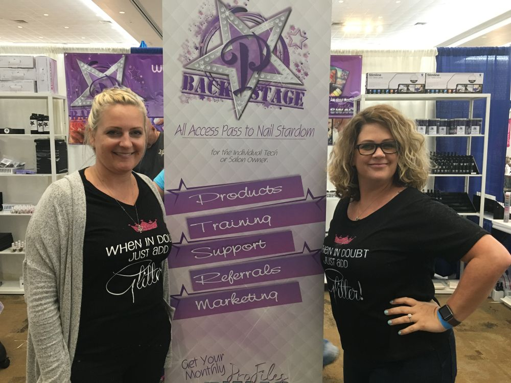 <p>Profile Nails&rsquo; Traci Dungan (left) and Ami McClure introduced attendees to a monthly subscription service program that mails the brand&rsquo;s pro-only products to nail techs.</p>