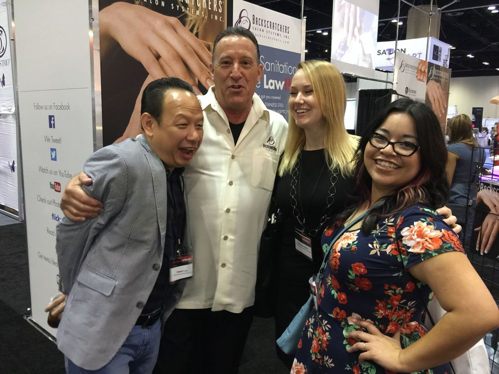 <p>Michael Megna (second from left) gets a little too close for Newton Luu's (far left) comfort! Here they are with Shannon Rahn and Sigourney Nu&ntilde;ez of NAILS.&nbsp;</p>