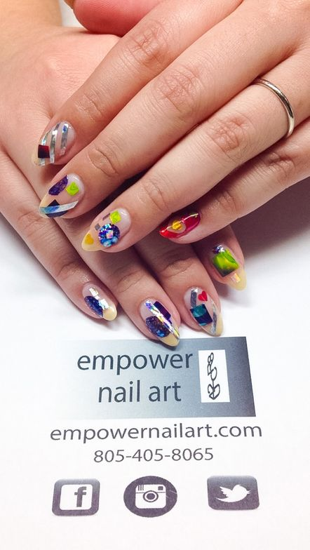 <p>Negative space Empower Nail Art by Holly Schippers&nbsp;</p>