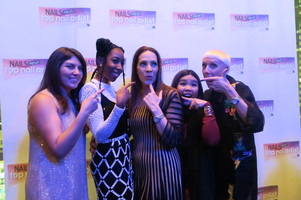 <p>NAILS Beth Livesay, S. 2 champion Lavette Cephus, S. 4 champion Tracey Lee, S. 3 champion Winnie Huang, and CND's Jan Arnold</p>