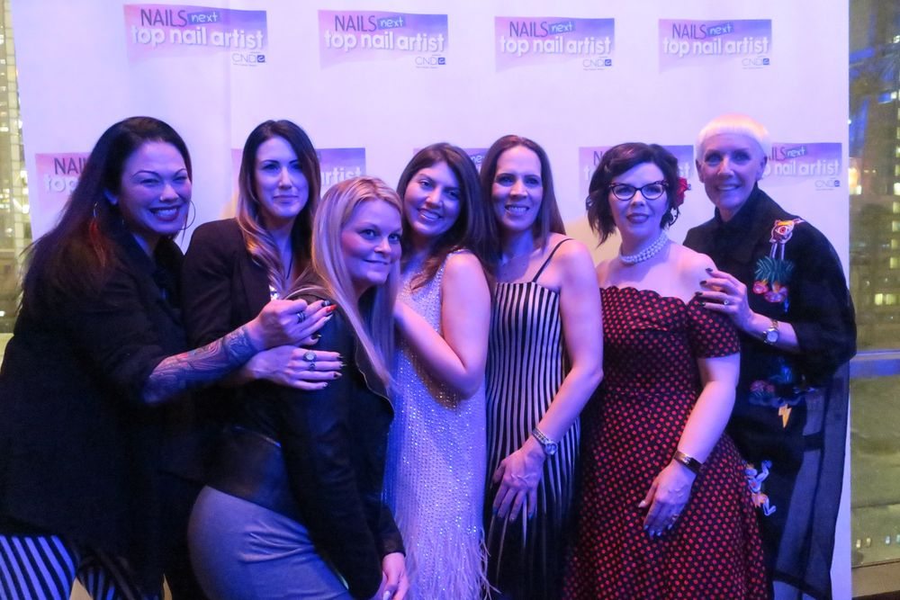 <p>NTNA S. 4 Top 12 members: Liza Waitzman, Dana Cecil, Cate Widemire, NAILS Beth Livesay, Tracey Lee, Tracy Vinson, and CND's Jan Arnold</p>