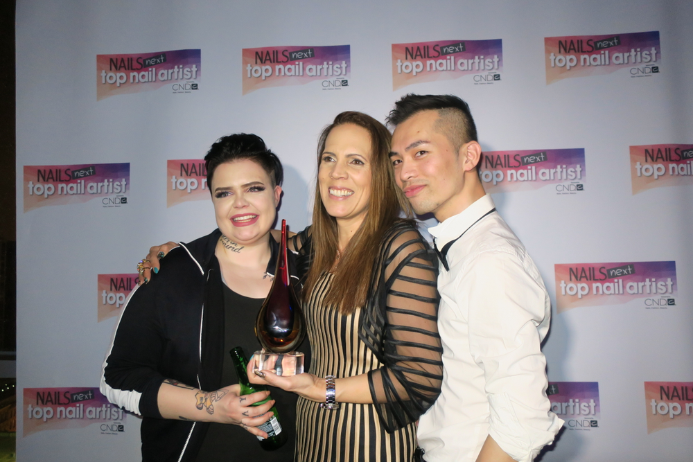 <p>Second runner-up Liina Leino, winner Tracey Lee, and first runner-up Jonny Pham</p>