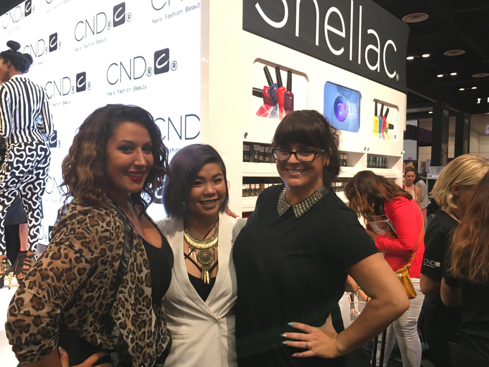 <p>From left: Ashely Craig, Winnie Huang, and Heather Davis demonstrated how to turn avant-garde nail looks into wearable fashion.&nbsp;</p>