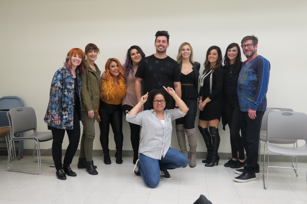 <p>Artist Session Fall 2017 attendees with beauty influencer Phil Ring (center)</p>