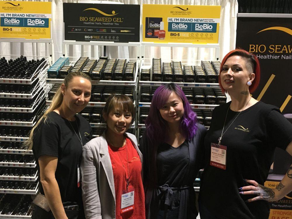 <p>Bio Seaweed Gel's Kristin Newman, Thao Nguyen, Hellen Luu, and Marisol Alvarado</p>
