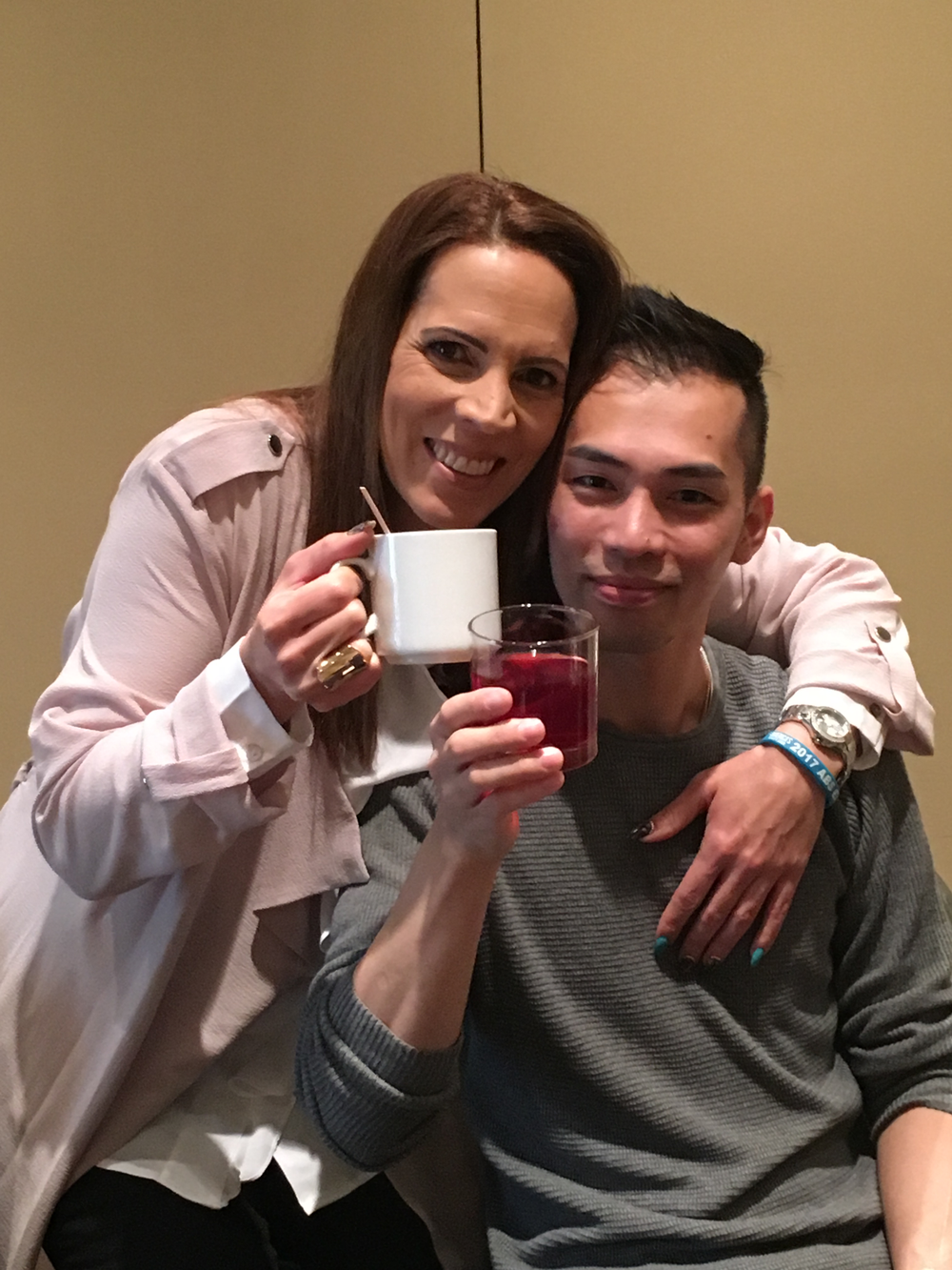 <p>Tracey Lee and Jonny Pham enjoyed brunch before the first day of the show</p>