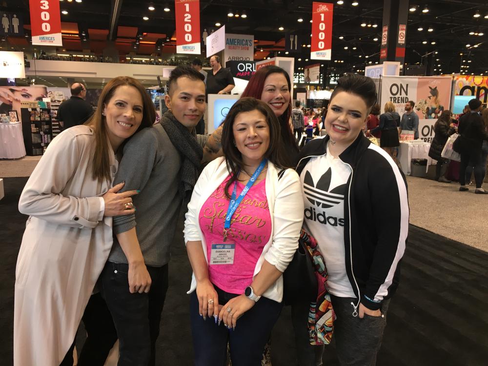 <p>Eva Jenkins (center) with NTNA Top 12 Tracey Lee, Jonny Pham, Liza Waitzman, and Liina Leino</p>