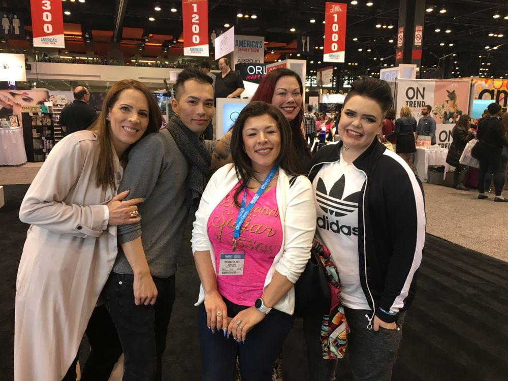 <p>Eva Jenkins (center) with NTNA Top 12 Tracey Lee, Jonny Pham, Liza Waitzman, and Liina Leino</p>