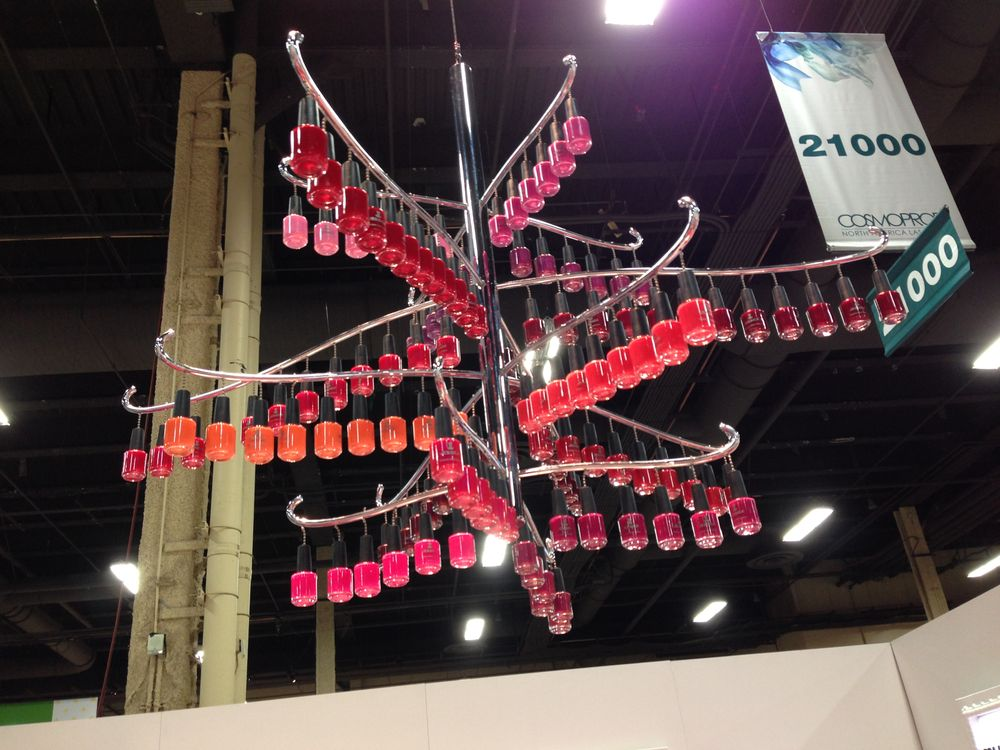 <p>The nail polish chandelier at the Jessica booth!</p>