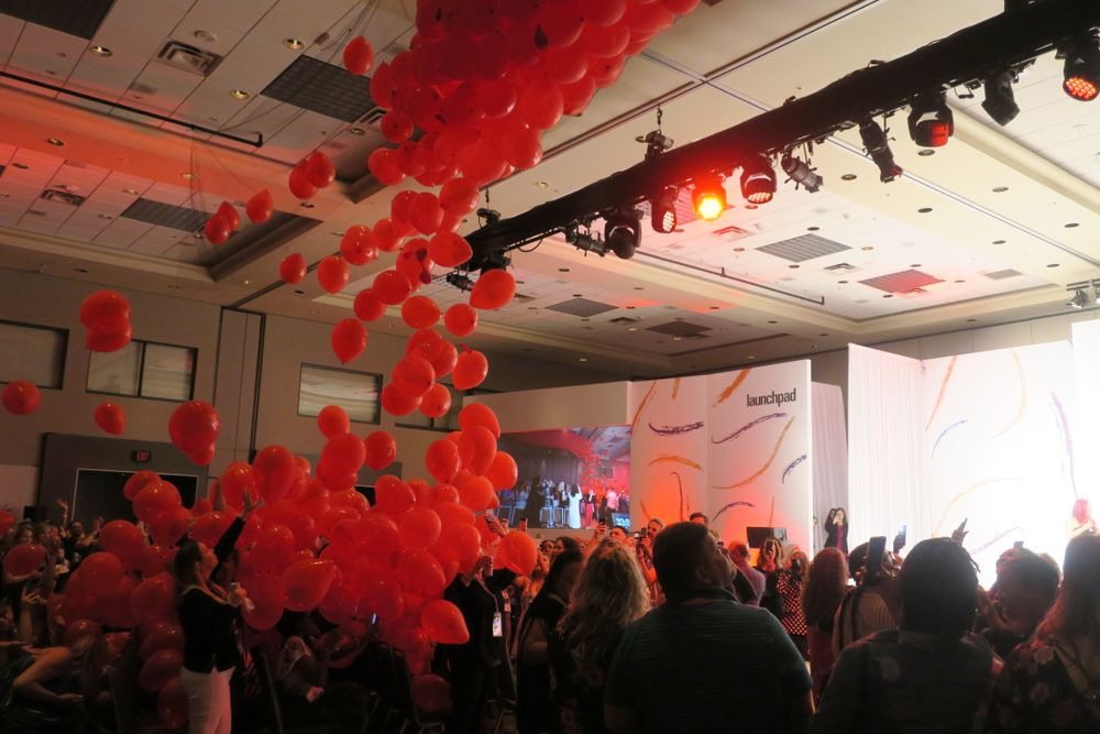 <p>A celebratory balloon drop ended the event.</p>