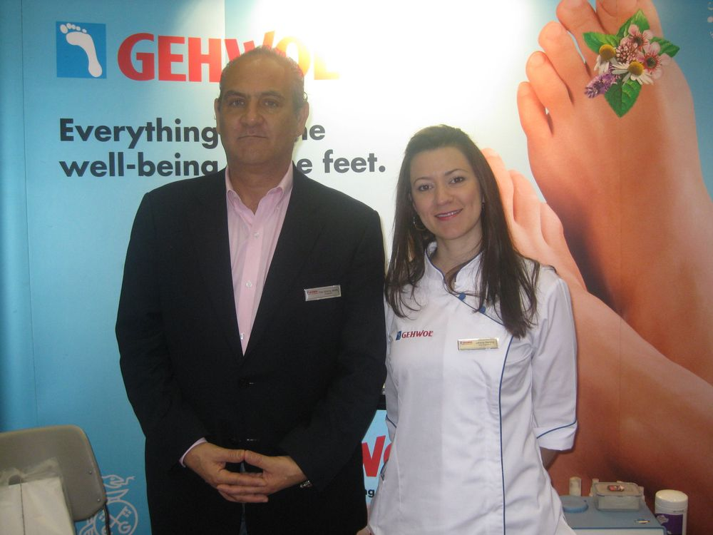 """<p><a href=""""http://www.gehwolonline.com/"""">Gehwol&rsquo;</a>s Faiz Jarufe and Johana Sterling promoted the company&rsquo;s Callus Cream, which contains urea and silk extract.</p>"""