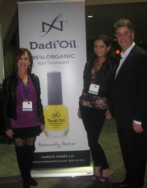 """<p>Family Linda, Nikki, and Jim Nordstrom were thrilled to introduce <a href=""""http://www.famousnamesproducts.com/"""">Famous Names</a>' Dadi&rsquo;Oil, a 95% organic nail treatment, to the market.</p>"""