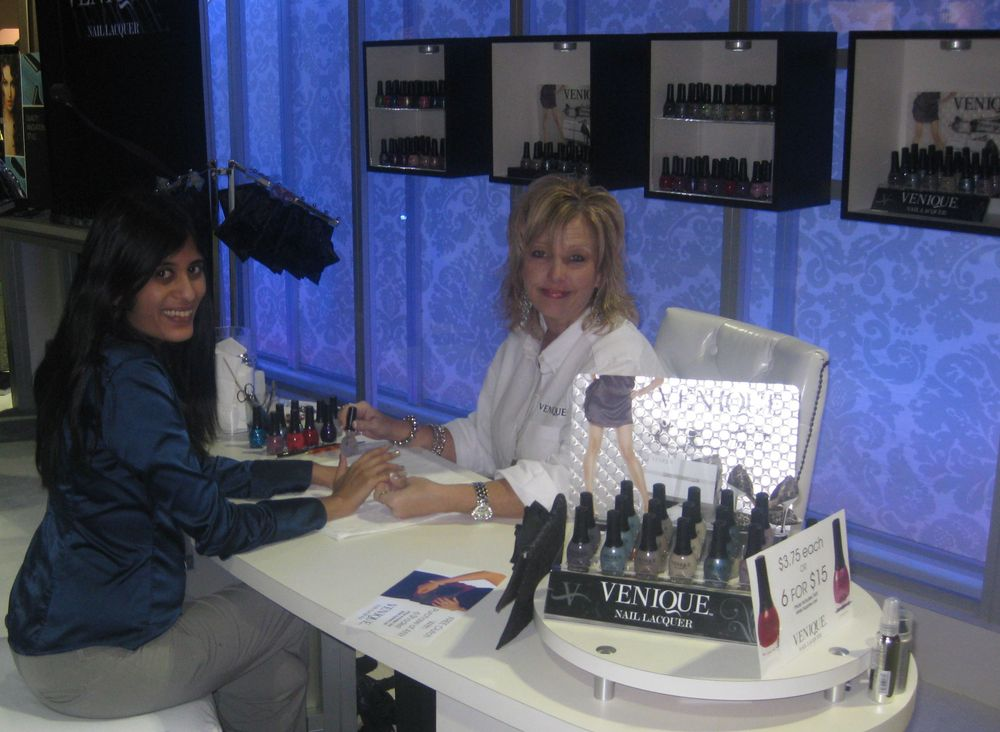 """<p>NAILS&rsquo; Sree Roy tries out new polish brand <a href=""""http://veniquenails.com/"""">Venique</a>, applied here by Gayla Snell, who explained that the polish contains Siltek for longer wear.</p>"""