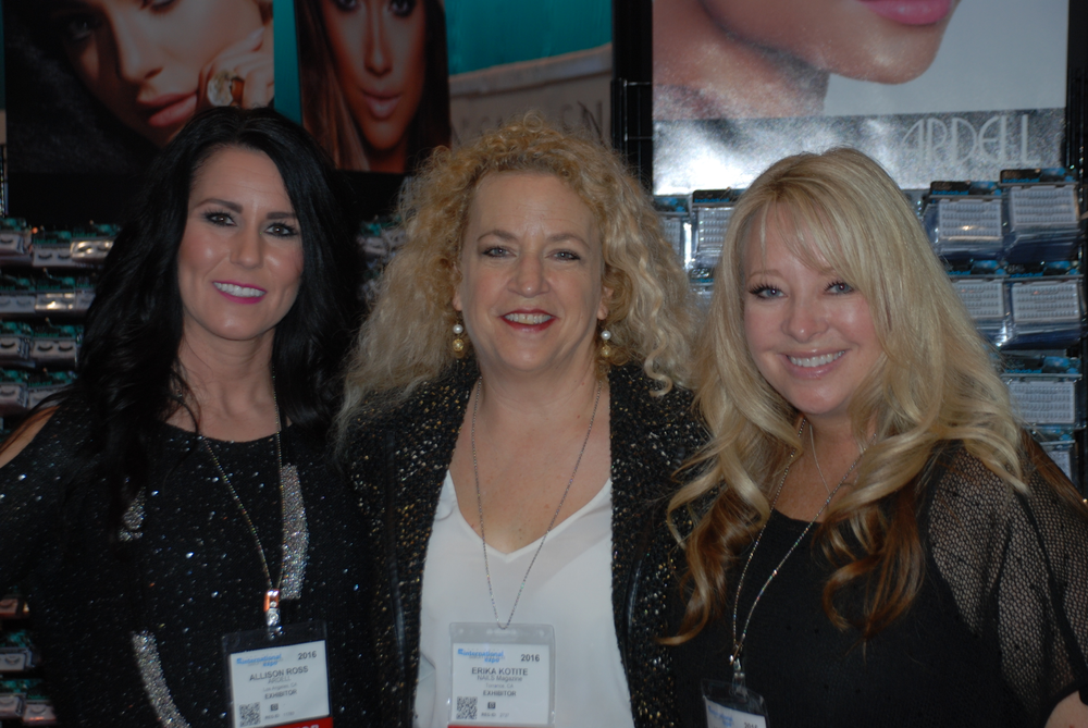 <p>Ardell's Allison Ross (left), Vicki Ornellas (right), and NAILS editor Erika Kotite</p>