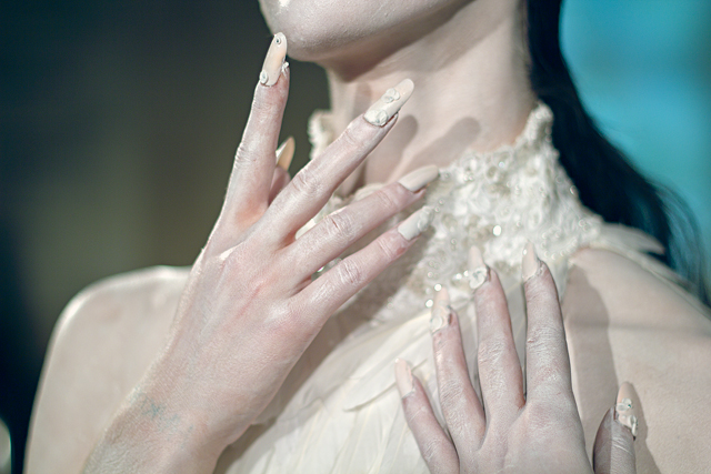 <p>Creating an intricate floral stiletto nail for designer Jay Briggs during London Fashion Week was one of visualization to compliment without detracting from the color palette. Nails by Naomi Gonzales. Photo courtesy of Freelance The Work Space. &nbsp;&nbsp;</p>