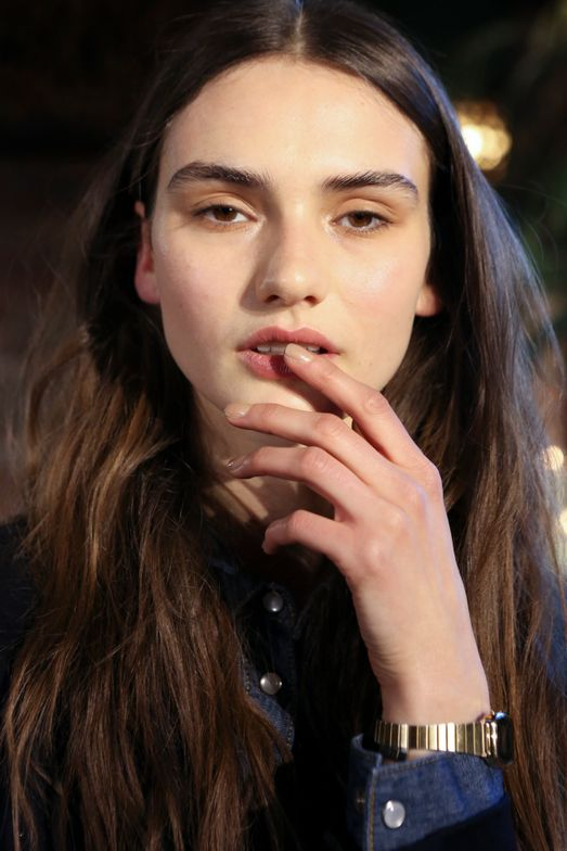 <p>Katie Jane Hughes used one coat of butter LONDON Yummy Mummy and a coat of High Tea to paint nails for the JOIE show.</p>