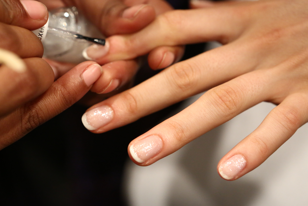 <p>Jenny Packham&rsquo;s glittery gowns and dresses were capped off with <strong>Essie</strong>&rsquo;s sparkler, Pure Pearlfection over Waltz and Marshmallow.</p>