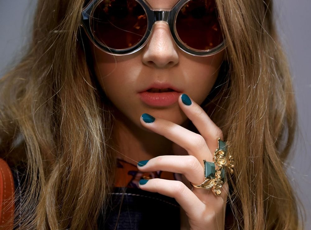 <p>Jin Soon created a literal green thumb to complement the garden-inspired Karen Walker&nbsp;Spring/Summer 2015 collection.&nbsp;Photo courtesy of Jin Soon Choi.</p>