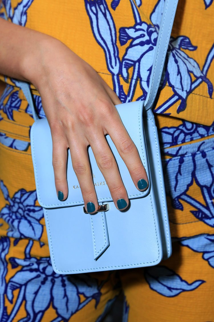 <p>Karen Walker's collection offered a vivid palette of rich hues. Evoking lush landscapes, manicurist Jin Soon Choi opted for a sleek green nail. Photo courtesy of Jin Soon Choi.</p>