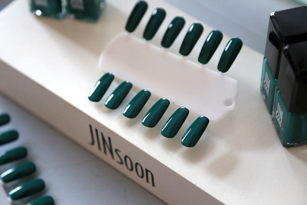 <p>Use two coats of JINsoon forest green nail polish (from her upcoming spring collection). Photo courtesy of Jin Soon Choi.</p>