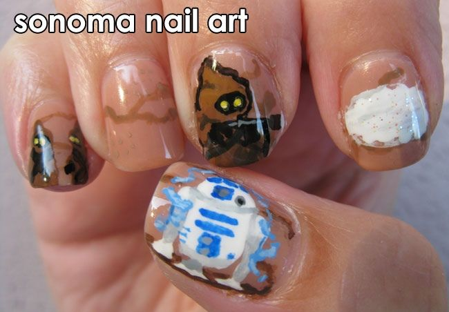 "<p>R2D2 attacked by Jawa nails, by <a href=""http://nailartgallery.nailsmag.com/michmarq"">Michelle Marquez</a>, Santa Rosa, Calif.</p>"