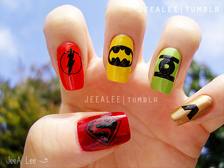 """<p>A job for the Justice League, DC-inspired nails by <a href=""""http://jeealee.tumblr.com/"""">Stephnie Lee</a>, Irvine, Calif.</p>"""