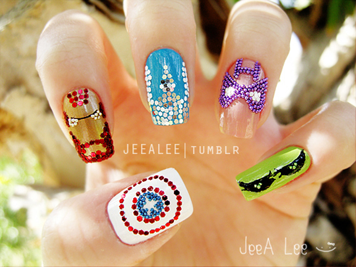 """<p>Avengers Assemble! Marvel nails by <a href=""""http://jeealee.tumblr.com/"""">Stephnie Lee</a>, Irvine, Calif.</p>"""