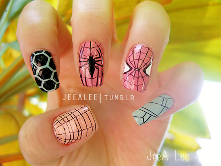"""<p>Spiderman nails by <a href=""""http://jeealee.tumblr.com/"""">Stephnie Lee</a>, Irvine, Calif.</p>"""