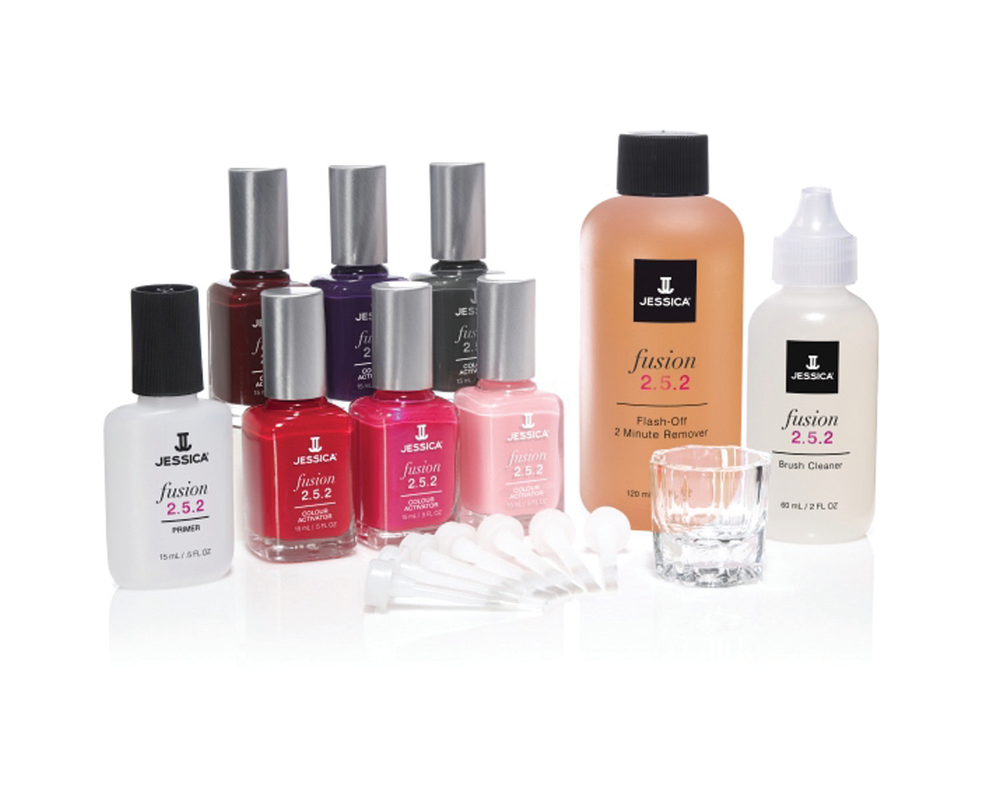 """<p><a href=""""http://www.jessicacosmetics.com/"""">Jessica</a>&nbsp;Flash Fusion 2.5.2 is meant to increase the speed and convenience of pedicures. This two-step system applies and dries in five minutes and can be removed in two minutes. Use Primer to start, then while Primer is still wet, the Colour Activator is applied. These two products instantly fuse together, with no need for base or top coat. Flash Fusion self-cures without a lamp, resulting in a gel-like finish. Wipe Flash Fusion 2.5.2 right off, without buffing or filing.</p>"""