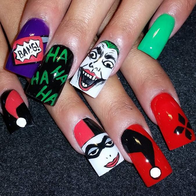 "<p>Joker and Harley Quinn nails by Olivia Gordon <a href=""https://instagram.com/jolgordons"">@jolgordons</a></p>"