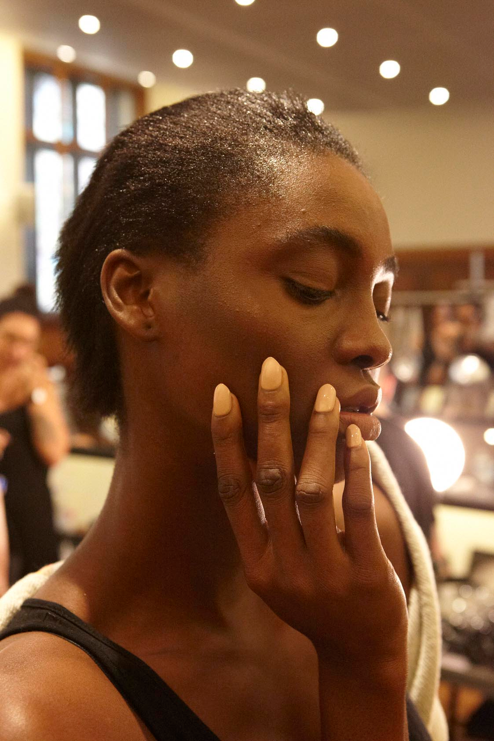 <p>Edwards created a toned down nail using a custom blend of opaque nude polish painted over imPRESS Press-ON Manicure by Broadway Nails. Photo courtesy of imPRESSmanicure.&nbsp;</p>