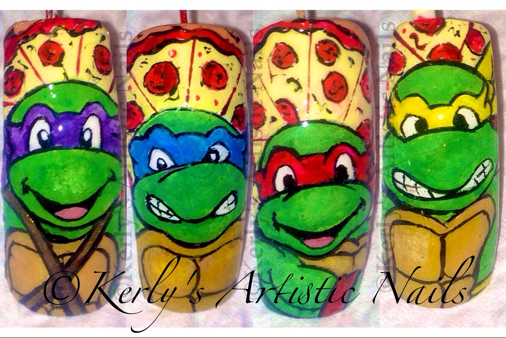 "<p>Teenage Mutant Ninja Turtles, Powered by Pizza, nails by <a href=""http://nailartgallery.nailsmag.com/kerlysnails"">Kerly Munroe</a>, Trinidad and Tobago</p>"