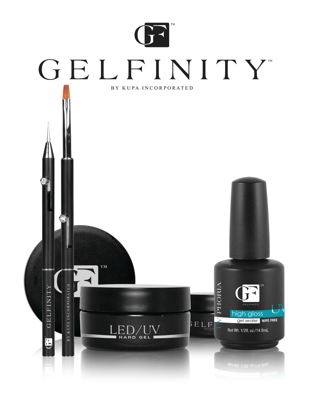 """<p><a href=""""http://www.kupainc.com/"""">Kupa</a> offers Gelfinity, a full line of hard gels that cure in both UV and LED lamps. The new gel system contains five components including, pink, cover pink, thin clear for fills, builder clear for strength extensions, plus an easy-to-apply white that you can sculpt or overlay.</p>"""