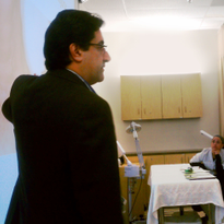 Lexli founder Dr. Ahmed Abdullah presents to a group of esthetic students. Photo courtesy...
