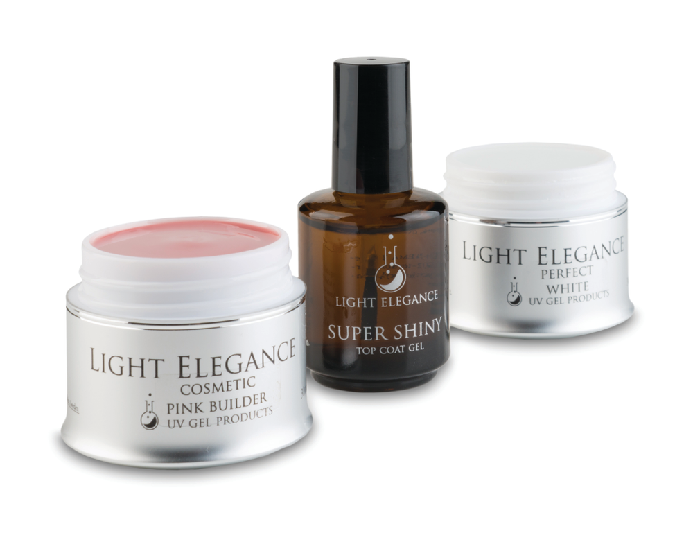 """<p><a href=""""http://www.lightelegance.com/"""">Light Elegance</a> revisits the classic pink-and-white design with hard gels that come in varying viscosities and a wide array of whites. Super Shiny, the brand&rsquo;s UV gel top coat completes the perfect enhancement.</p>"""