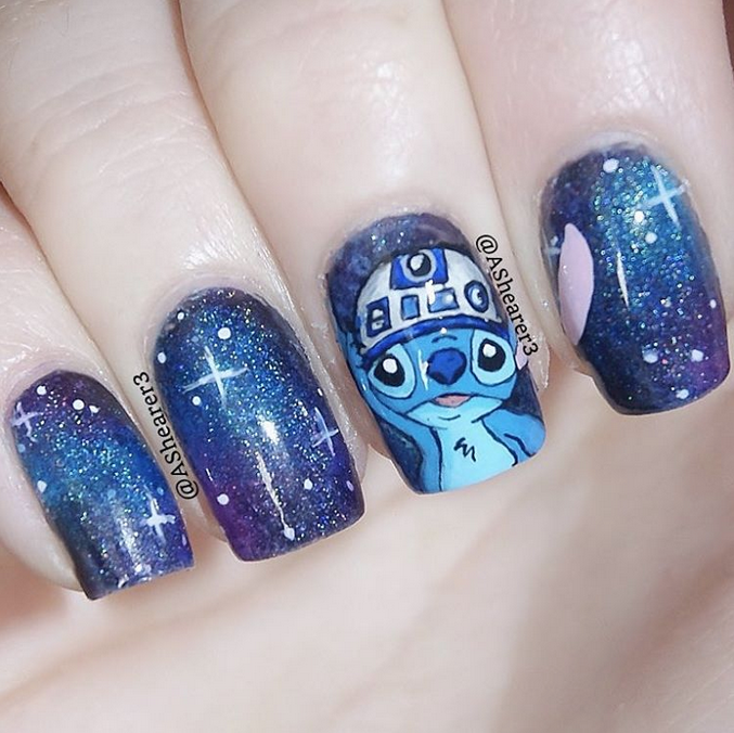 """<p>Stitch from Lilo and Stitch as R2D2, nails by <a href=""""https://instagram.com/ashearer3/"""">Aj Shearer</a>, Northern Ireland</p>"""