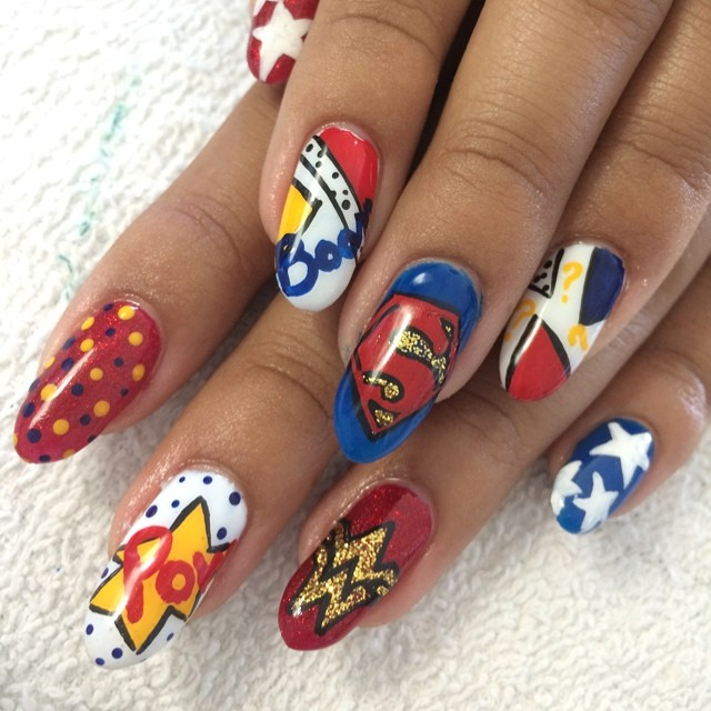 """<p>Superman and Wonder Woman nails by<a href=""""http://instagram.com/lona_martinez""""> Lona Martinez, Lacquer Beauty Lounge</a>, Watsonville, Calif.</p>"""