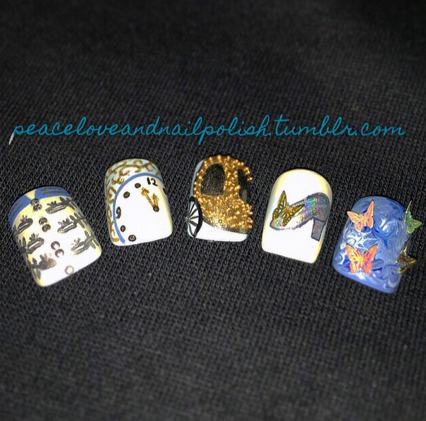 <p>Honorable mention for flat art in Gelish &amp; Morgan Taylor's Mani at Midnight Contest: @claire_louise88</p>